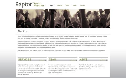 Screenshot of About Page raptorsports.com - About Us - captured Oct. 27, 2014