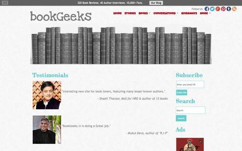 Screenshot of Testimonials Page bookgeeks.in - Testimonials | Book Reviews - captured Nov. 2, 2014