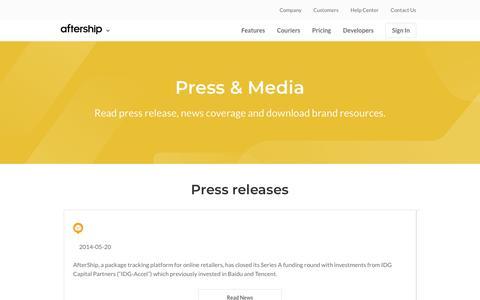 Screenshot of Press Page aftership.com - Press & Media - AfterShip - captured July 13, 2018