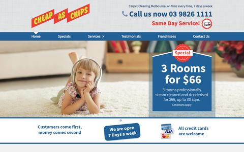 Screenshot of Home Page cheapaschipscleaning.com.au - Carpet Cleaning Melbourne | Cheap As Chips | Call 9826 1111 - captured Sept. 28, 2015