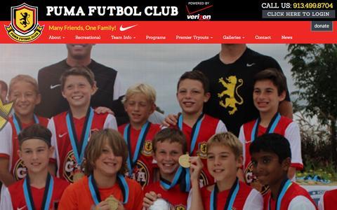 Screenshot of Home Page pumafc.org - Home - Puma Futbol Club - Puma FC - captured Dec. 14, 2015