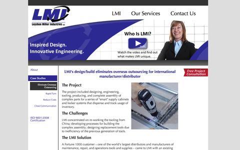 Screenshot of Case Studies Page lmidesign.com - Eliminate Overseas Outsourcing | Leyshon Miller Industries, LLC. - captured Oct. 2, 2014
