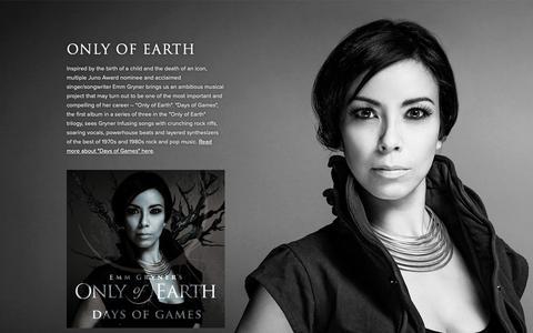Screenshot of Press Page emmgryner.com - Only of Earth — Emm Gryner - captured Oct. 21, 2018