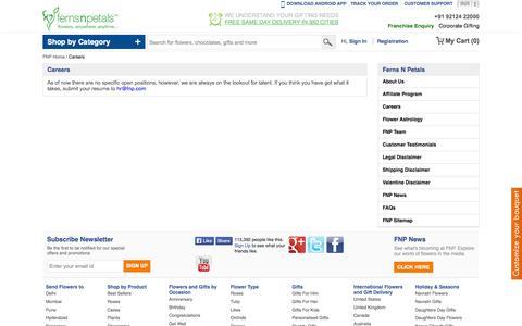 Screenshot of Jobs Page fnp.com - Start Your Career with Ferns N Petals - captured Sept. 18, 2014