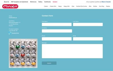 Screenshot of Contact Page minikin.se - Contact Us  |  White label pacifiers, bottles and bibs. BPA free made in Sweden - captured June 11, 2017