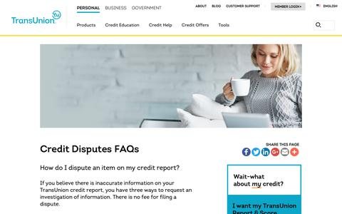 Screenshot of Support Page transunion.com - Credit Disputes FAQs |TransUnion - captured Oct. 24, 2018
