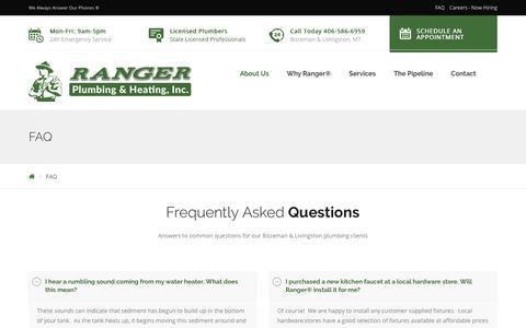 Screenshot of FAQ Page callranger.com - FAQ - Ranger Plumbing & Heating, Inc. - captured Oct. 19, 2017