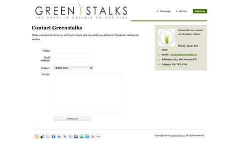 Screenshot of Contact Page greenstalks.ca - Artificial Lawn - Synthetic Grass - Artificial Grass - Synthetic Lawn Calgary Alberta - captured Oct. 3, 2014