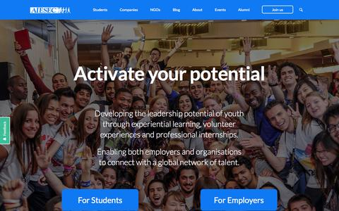 Screenshot of Home Page aiesec.org - AIESEC - captured Jan. 26, 2015