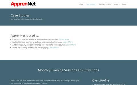 Screenshot of Case Studies Page apprennet.com - Case Studies - captured Sept. 11, 2014
