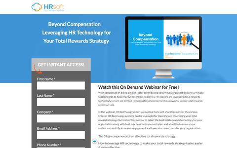 Screenshot of Landing Page hrsoft.com - Beyond Compensation: Leveraging HR Technology for Your Total Rewards Strategy - captured July 22, 2017