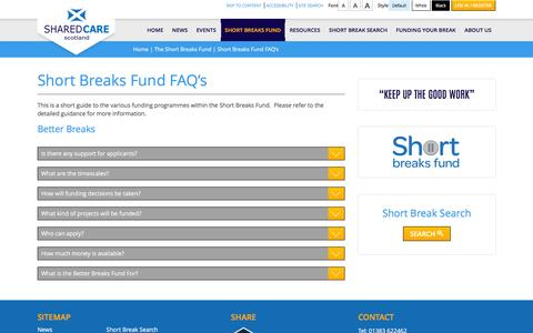 Screenshot of FAQ Page sharedcarescotland.org.uk - Short Breaks Fund FAQ's - captured Feb. 22, 2016