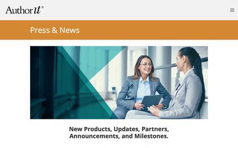 Screenshot of Press Page author-it.com - News — Author-It - captured Sept. 22, 2018