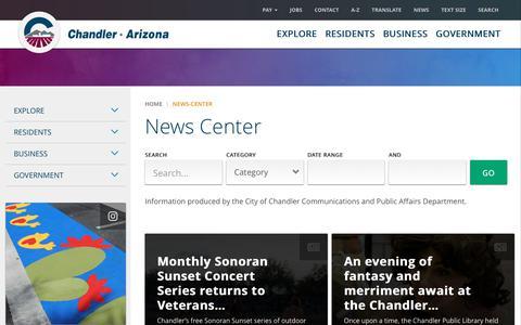 Screenshot of Press Page chandleraz.gov - Chandler News Center | City of Chandler - captured Sept. 28, 2018
