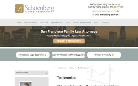 Screenshot of Testimonials Page sflg.com - Testimonials | Schoenberg Family Law Group, P.C. - captured Oct. 5, 2017