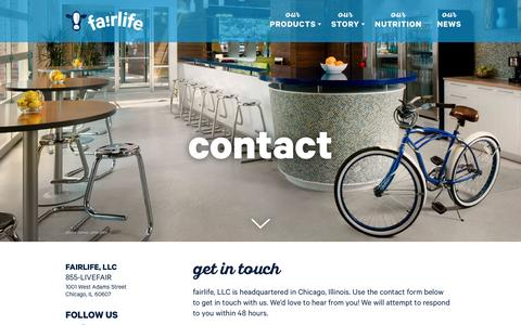 Screenshot of Contact Page fairlife.com - Contact | fairlife - captured May 16, 2017