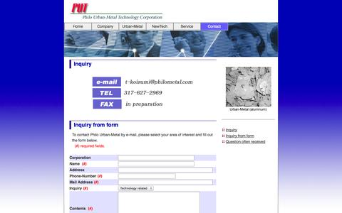 Screenshot of Contact Page philometal.com - Philo Waste Technology Corporation - captured Oct. 2, 2014