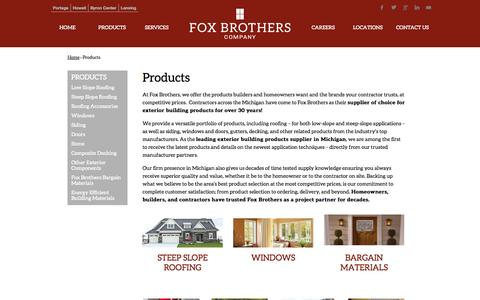 Screenshot of Products Page foxbrothersco.com - Building Products Supplier Portage, MI   Kalamazoo, Lansing, Howell, Byron Center, Grand Rapids - captured Oct. 6, 2014