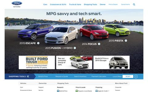 Screenshot of Home Page ford.com - Ford – New Cars, Trucks, SUVs, Hybrids & Crossovers | Ford Vehicles - captured Sept. 18, 2014