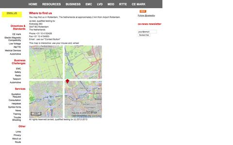 Screenshot of Maps & Directions Page cetest.nl - CE-test: Where to find us. - captured Feb. 2, 2016