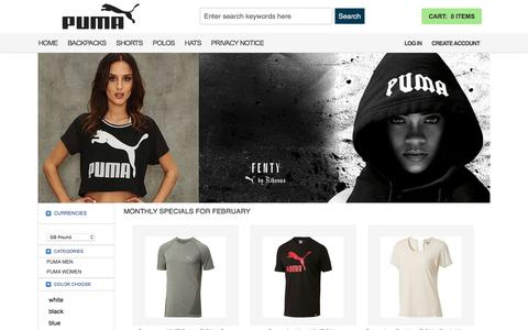 Screenshot of Home Page the5experience.co.uk - Puma online store offered for you: Discount Puma Jackets, Shirts, Shorts, Pants, Polos, Tees, Hoodies, Cheap Puma Hats, Puma Backpacks. - captured Feb. 18, 2018