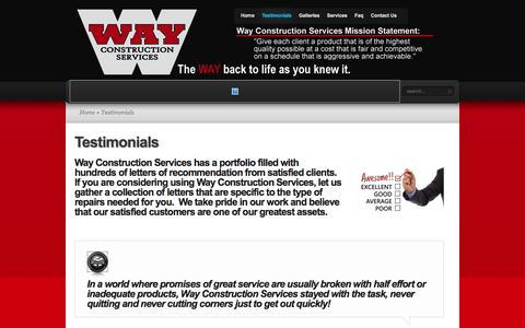 Screenshot of Testimonials Page wayconstruction.com - Testimonials | Way Construction - captured Dec. 3, 2016