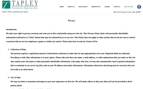 Screenshot of Privacy Page tapleyagency.com - Privacy Policy | Insurance Agency In York Maine - captured Oct. 18, 2018