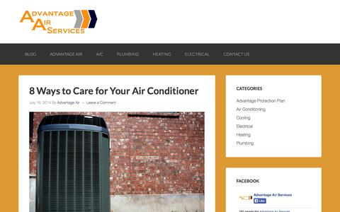 Screenshot of Blog advantageairservices.net - Advantage Air Services – Advantage is here to serve your family and help you with any heating, cooling, plumbing, or electrical needs. - captured Oct. 4, 2014