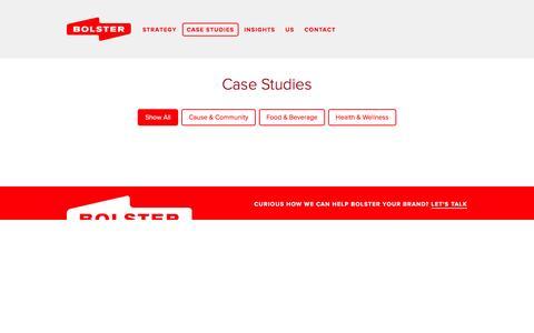 Screenshot of Case Studies Page bolstercreative.com - Bolster // Work - captured Feb. 8, 2016