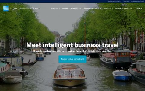 Screenshot of Home Page amexglobalbusinesstravel.com - Global Business Travel | American Express Global Business Travel - captured Sept. 21, 2016