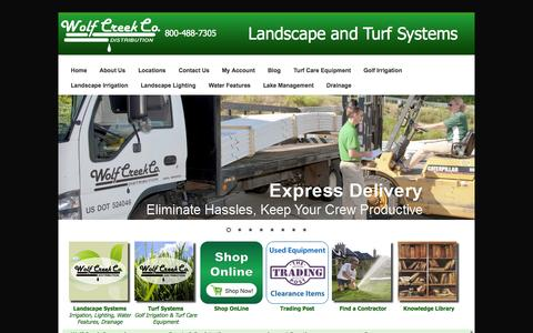 Screenshot of Home Page wolfcreekcompany.com - Wolf Creek - Landscaping supplies | Irrigation supplies | Drainage | Water features - captured Oct. 7, 2014
