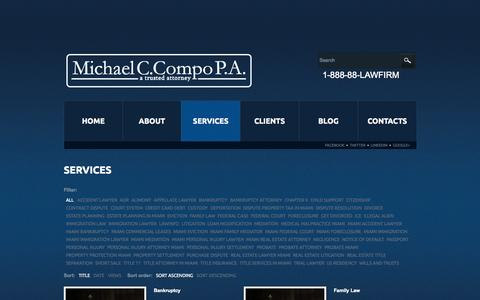 Screenshot of Services Page mcompolaw.com - MICHAEL C COMPO PA | Services - captured Oct. 27, 2014