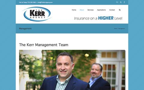Screenshot of Team Page thekerragency.com - Management | The Kerr Agency | Commercial Insurance Redbank | The Kerr Agency - captured Oct. 7, 2014