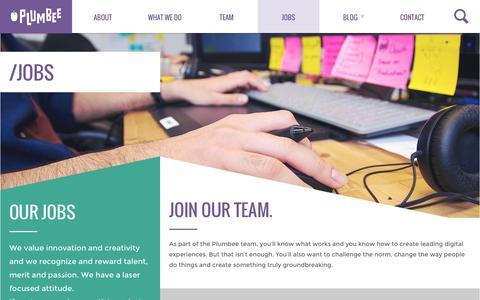Screenshot of Jobs Page plumbee.com - Jobs - Plumbee - captured July 3, 2016