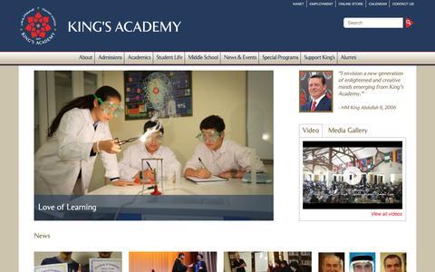 Screenshot of Home Page kingsacademy.edu.jo - King's Academy - captured Jan. 9, 2016