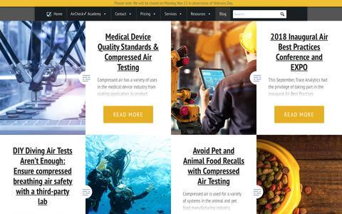 Screenshot of Blog airchecklab.com - Blog - Compressed Air Testing - Trace Analytics - captured Nov. 10, 2018