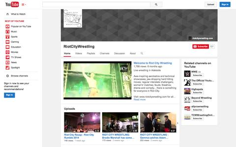 Screenshot of YouTube Page youtube.com - RiotCityWrestling  - YouTube - captured Oct. 26, 2014