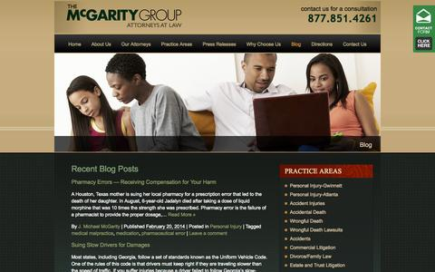 Screenshot of Blog themcgaritygroup.com - Georgia Personal Injury Blog | The McGarity Group, Attorneys at Law - captured Sept. 30, 2014
