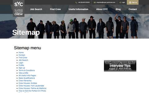 Screenshot of Site Map Page super-yachtcrew.com - Sitemap | Super Yacht Crew - captured Dec. 11, 2016