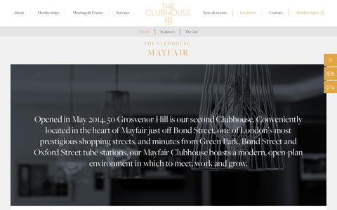 Screenshot of Locations Page theclubhouselondon.com - Locations | Grosvenor Hill, Mayfair | The Clubhouse London - captured June 14, 2017