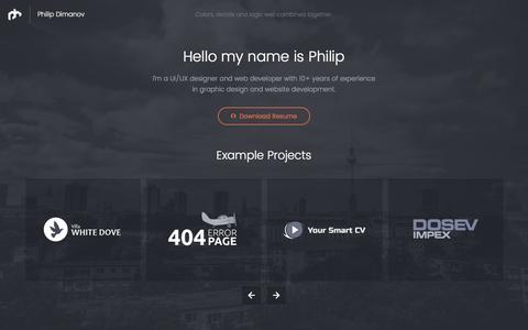 Screenshot of Home Page dimanov.de - Philip Dimanov - UI/UX designer and web developer - captured Jan. 13, 2017
