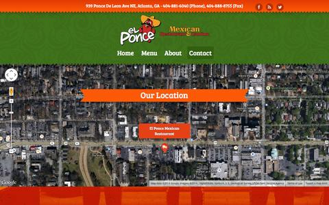 Screenshot of Contact Page elponce.com - Contact - El Ponce Mexican Restaurant and Cantina, Atlanta MidtownEl Ponce Mexican Restaurant and Cantina, Atlanta Midtown - captured Oct. 3, 2014