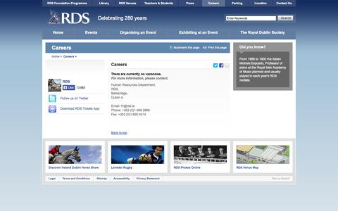 Screenshot of Jobs Page rds.ie - Careers - RDS - captured Oct. 26, 2014