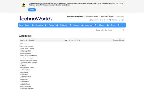 Screenshot of Site Map Page technoworld.com - Magento Commerce - captured Oct. 9, 2014