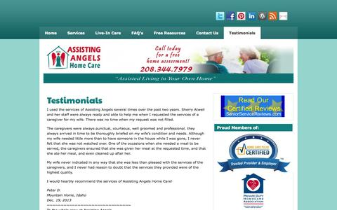 Screenshot of Testimonials Page assistingangels.biz - Testimonials | Assisting Angels Home Health Care | - captured Oct. 4, 2014