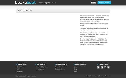 Screenshot of About Page bookaboat.com.au - About Us - captured Oct. 10, 2014