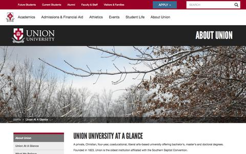 Screenshot of About Page uu.edu - About | Best Private Liberal Arts Universities in the South | Union University, a Christian College in Tennessee - captured Jan. 13, 2020