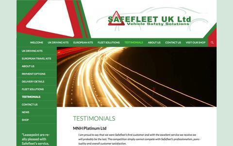 Screenshot of Testimonials Page safefleet.co.uk - Testimonials   Safefleet - captured Oct. 1, 2014