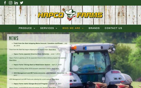 Screenshot of Press Page hapcofarms.com - Hapco Farms - News - captured Sept. 27, 2018