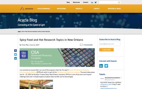 Spicy Food and Hot Research Topics in New Orleans - Acacia Communications